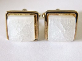Vtg Square Cufflinks Iridescent White Glass Men... - $12.19