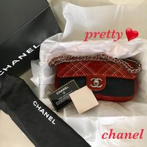 Vintage CHANEL Authentic Suede Red Chain Shoulder Bag Matelasse Multistitch - $1,706.76
