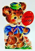 Vintage 40s Hallmark Baby Bear Lollipop Happy Birthday Childrens Greetin... - $9.47