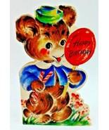 Vintage 40s Hallmark Baby Bear Lollipop Happy Birthday Childrens Greetin... - $9.47