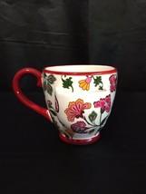 BELLA CASA GANZ Teabag Pocket Holder Red Floral Coffee Tea Cup Mug - $24.95