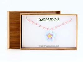 Sterling Silver Cherry Blossom and Pink Swarovski Crystal Necklace - Cloisonné a - $72.00