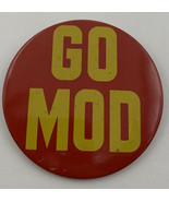 "Go Mod Pinback 3"" Button Red Yellow Vintage Original 20-2048AZ - $10.40"