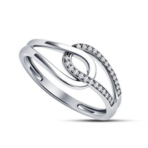 925 Sterling Silver 14k White Gold Plated Round Cut Diamond Promise Wedding Ring - $68.99