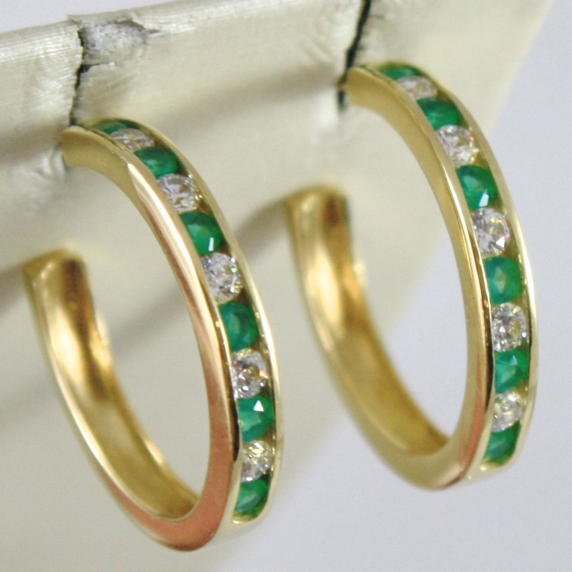 HOOP EARRINGS YELLOW GOLD 750 18K MADE IN ITALY, TOURMALINE GREEN, ZIRCON