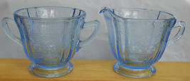 Indiana Madrid Blue Recollection Sugar Bowl & Creamer Pitcher - $29.69