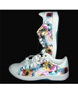 Skechers Alpha Lite Water Lilly Watercolor Floral Leather Sneakers Wms 8... - $59.99