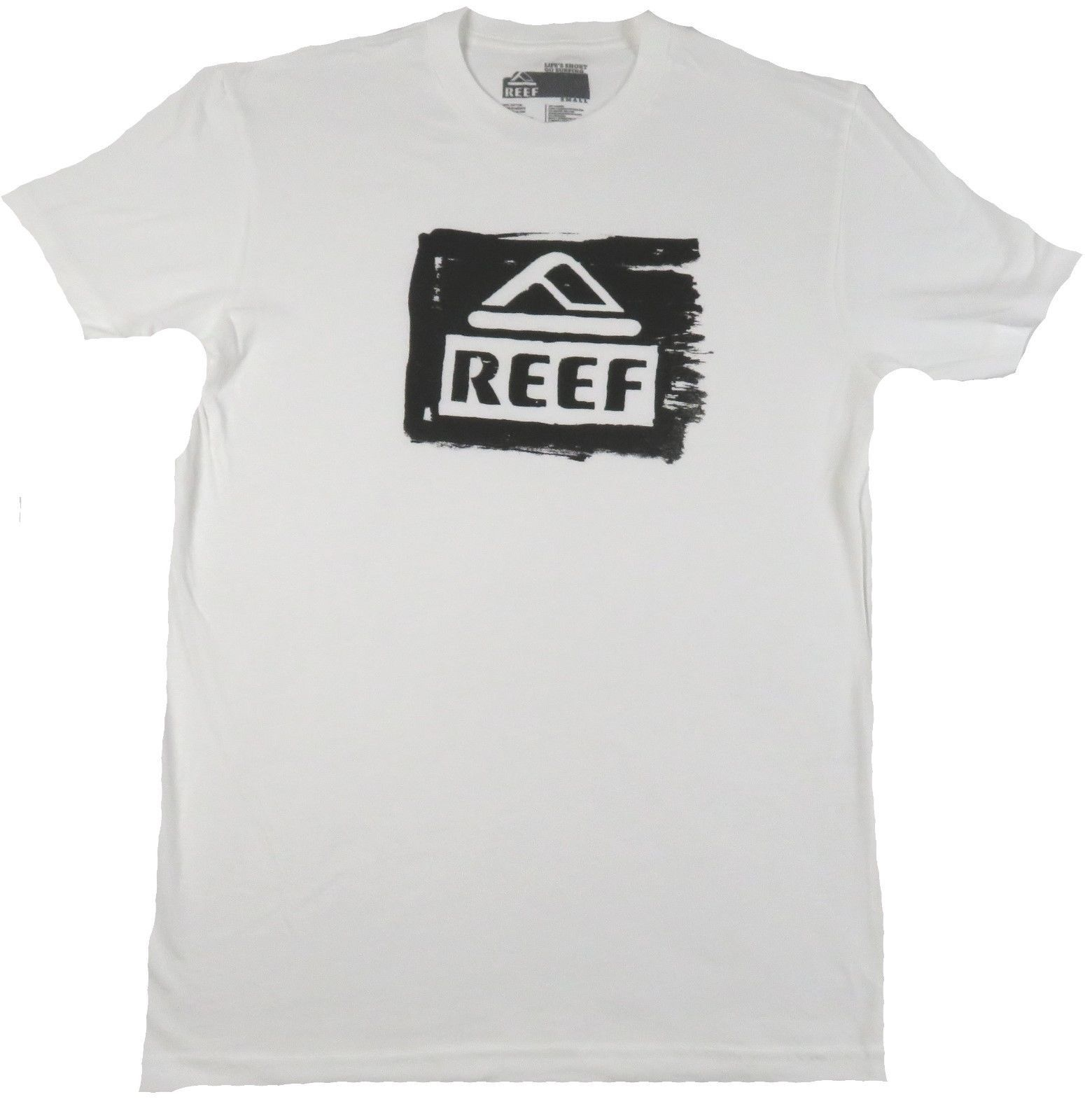 Men's REEF Tee Shirt Surfing Beach Casual Fish T-shirt White Vintage Logo