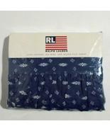 Ralph Lauren Queen Flat Sheet Ruffle Shelley Indigo Southwestern Rare - $118.79