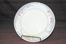 "Gibson Pink Flowers Blue/Gray Leaves Salad Plate 7 1/2"" Plate - $3.46"
