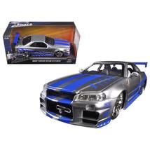 Brians Nissan GTR Skyline R34 Silver/Blue Fast & Furious Movie 1/24 Diec... - $30.14