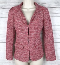 Talbots Marled Blazer Women's Petites 2 2P Red White Cotton Blend Unlined - $21.24