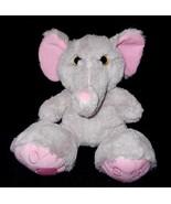 Midwood Brand Elephant Plush Stuffed Animal Grey Pink Big Feet Gold Glit... - $26.61