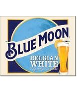 New Blue Moon Belgian White Belgian Style Wheat Ale Decorative Metal Tin... - $9.41