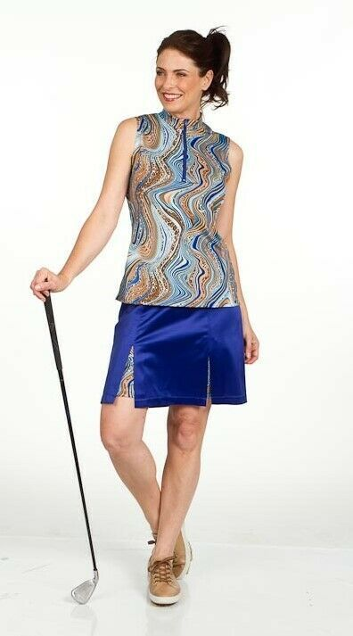 "Stylish Women's Longer 26"" Golf Skort In Sapphire Blue with Animal Print Shortie image 3"