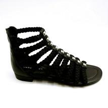 Marc Fisher Womens Pepita Braid Detailed Gladiator Sandals Black Multi 6M New - $49.49