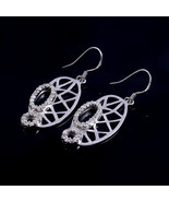 Diwali Gift, Aesthetic Earrings, Pure Silver crystal Earrings - $39.00