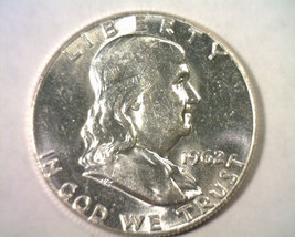 1962 FRANKLIN HALF DOLLAR CHOICE ABOUT UNCIRCULATED++ CH. AU++ NICE ORIG... - $15.00