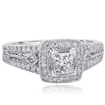 1.06 TCW Princess Cut Diamond Solitaire Engagement Ring 14k White Gold Split Sha - $2,474.01