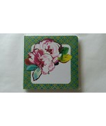 Square Green Burgundy Metallic Watercolors 2 Rose Buds Journal 80 Lined ... - $3.55