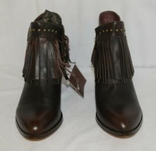 Lucky And Blessed SH 11 Dark Brown Leather Boots Fringe Metal Studs Size 9 image 2