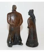 Vintage Old Mexico MAN & WOMAN Glazed Clay Figurines Primitive Folk Art ... - $19.20