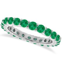 1CT Emerald Eternity Ring 14K White Gold - £435.37 GBP