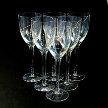 6 (Six) VTG KOSTA BODA LINE GOLD Crystal Claret Glasses w 24K Trim-DISCO... - $351.49