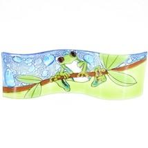 Fused Art Glass Red Eyed Green Tree Frog Wavy Decor Piece Handmade Ecuador image 1