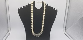 Vintage Faux Pearl Strand Necklace With Silver Tone & Rhinestones Medallion - $17.38