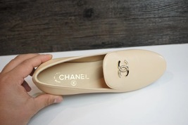 100% Authentic NEW Chanel Beige Slip On Crystal CC Logo Loafers Shoes Flats image 4