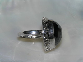 Estate 925 Sterling Silver Signed Large Faceted Black Glass Cab in Open Scroll image 2