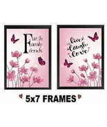 5x7 Pink Flower Pictures Faith Family Friends Live Laugh Love Wall Hang... - $8.99+