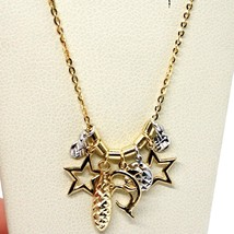 18K YELLOW WHITE GOLD NECKLACE, DOLPHIN, STAR, DROP, DISC PENDANT, MADE IN ITALY image 2