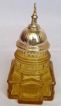 """vintage Avon The Capital cologne bottle amber glass gold tone metal 5.5""""... - $9.89"""