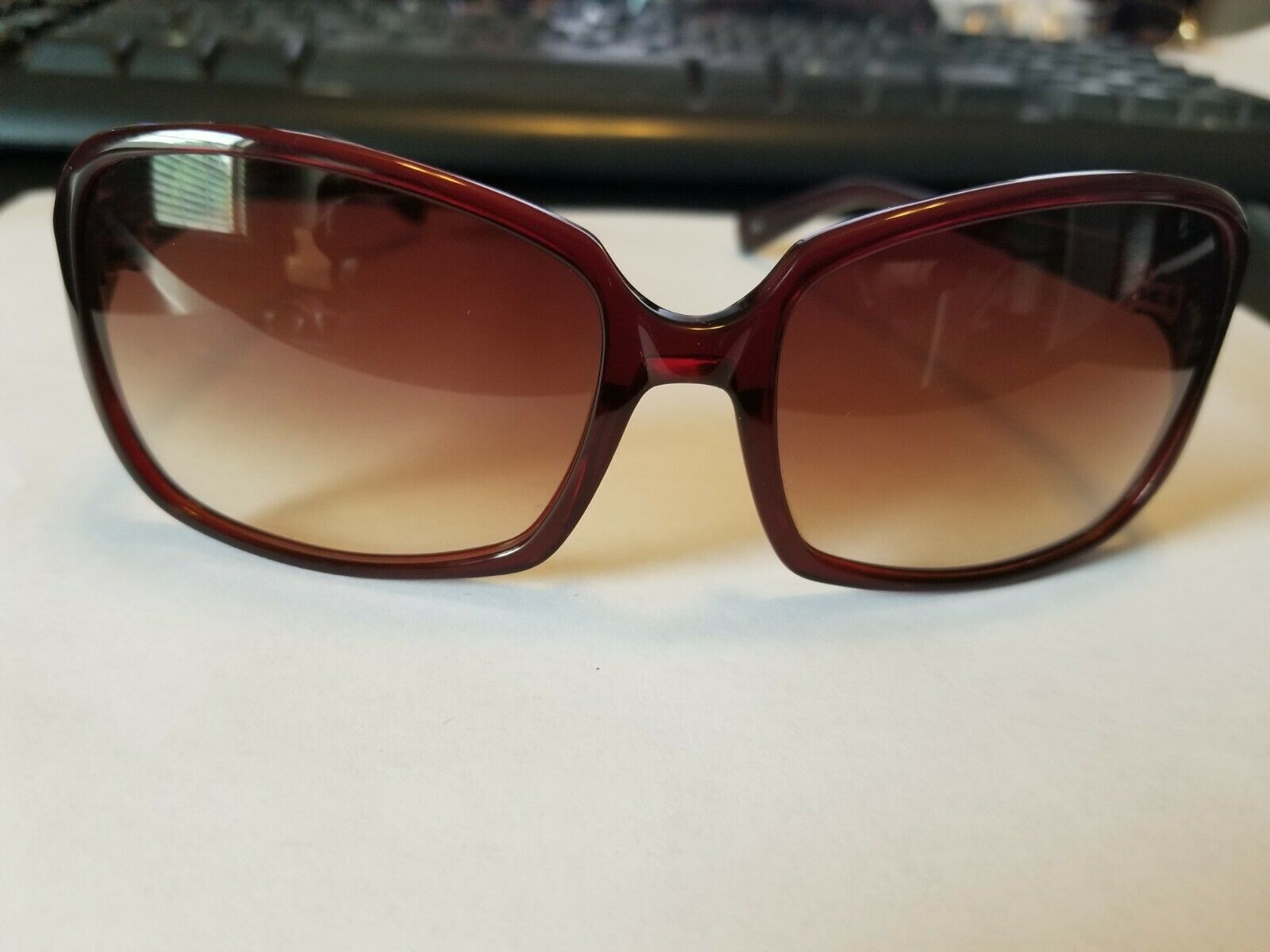 OLIVER PEOPLES Candice SI Sunglasses Glossy Transparent Dark Burgundy Red ..NEW