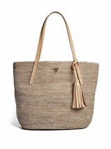 NWT Guess Bronze Color Woven 'Larita' Beach Bag Tote with Tassel Accent - $44.54