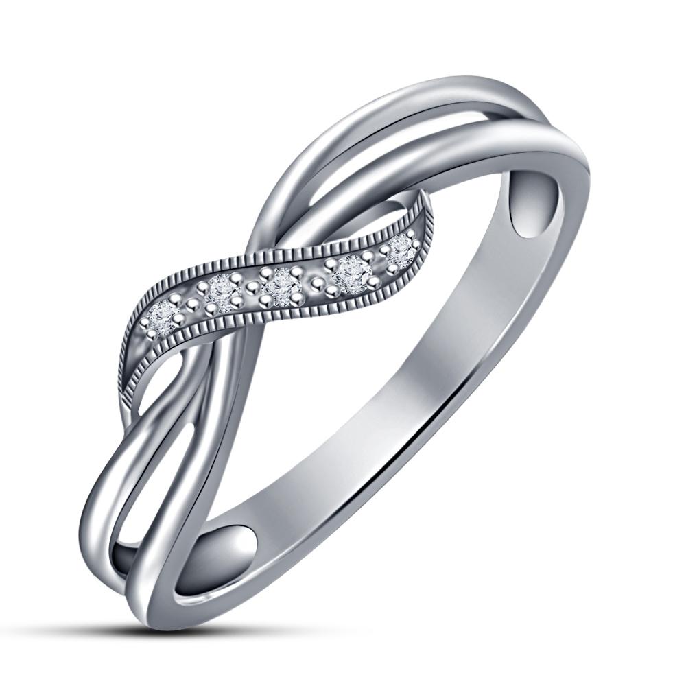 Women's 14k White Gold 925 Silver Round Cut Sim Diamond Criss-Cross Wedding Ring