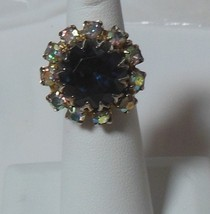 Antique Gold-tone Large Blue Faceted Stone & Rhinestone Adjustable ring - $44.55