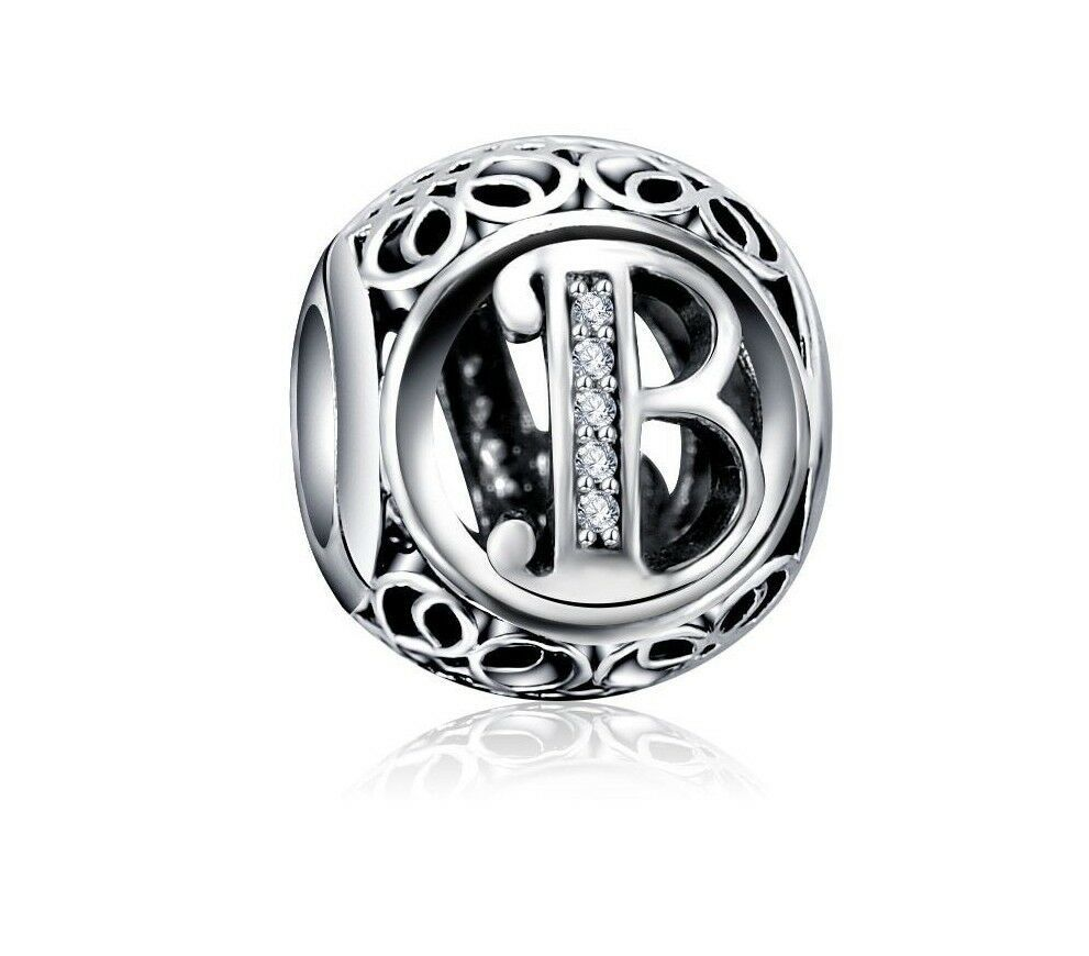 925 Sterling Silver Letters Charm suits Pandora Free Bracelet with 5 Charms Name