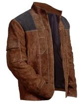 Han Solo A Star Wars Story Warrior Alden Ehrenreich Brown Suede Leather Jacket image 2