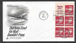 USA 1973 C79 13c AIRMAIL BOOKLET PANE ARTCRAFT FDC - $0.99