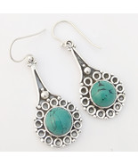 Solid 925 Sterling Silver Turquoise Gemstone Earrings, Handmade Jewelry ... - $28.99