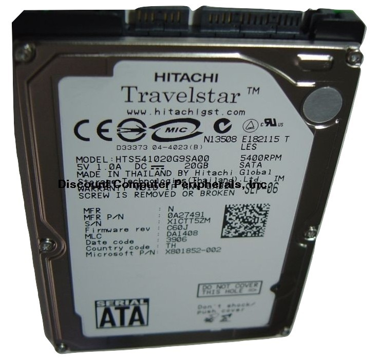 "20GB SATA 2.5"" 9.5MM drive Hitachi HTS541020G9SA00 Free USA Ship Our Drives Work"