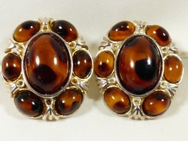Silver Tone Metal Tortoise Faux Cabochons  Clip on Earrings - $19.80