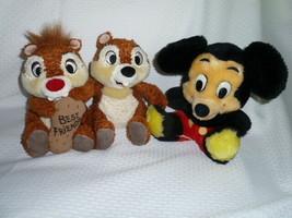 "Disney Lot 2 Dakin Vtg Mickey Mouse 8"" Disneyland Chip & Dale Chipmunks 7"" Plush - $21.77"