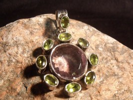 Vintage Sterling Amethyst And Peridot 40 Mm Pendant 12.11 Grams - $49.50