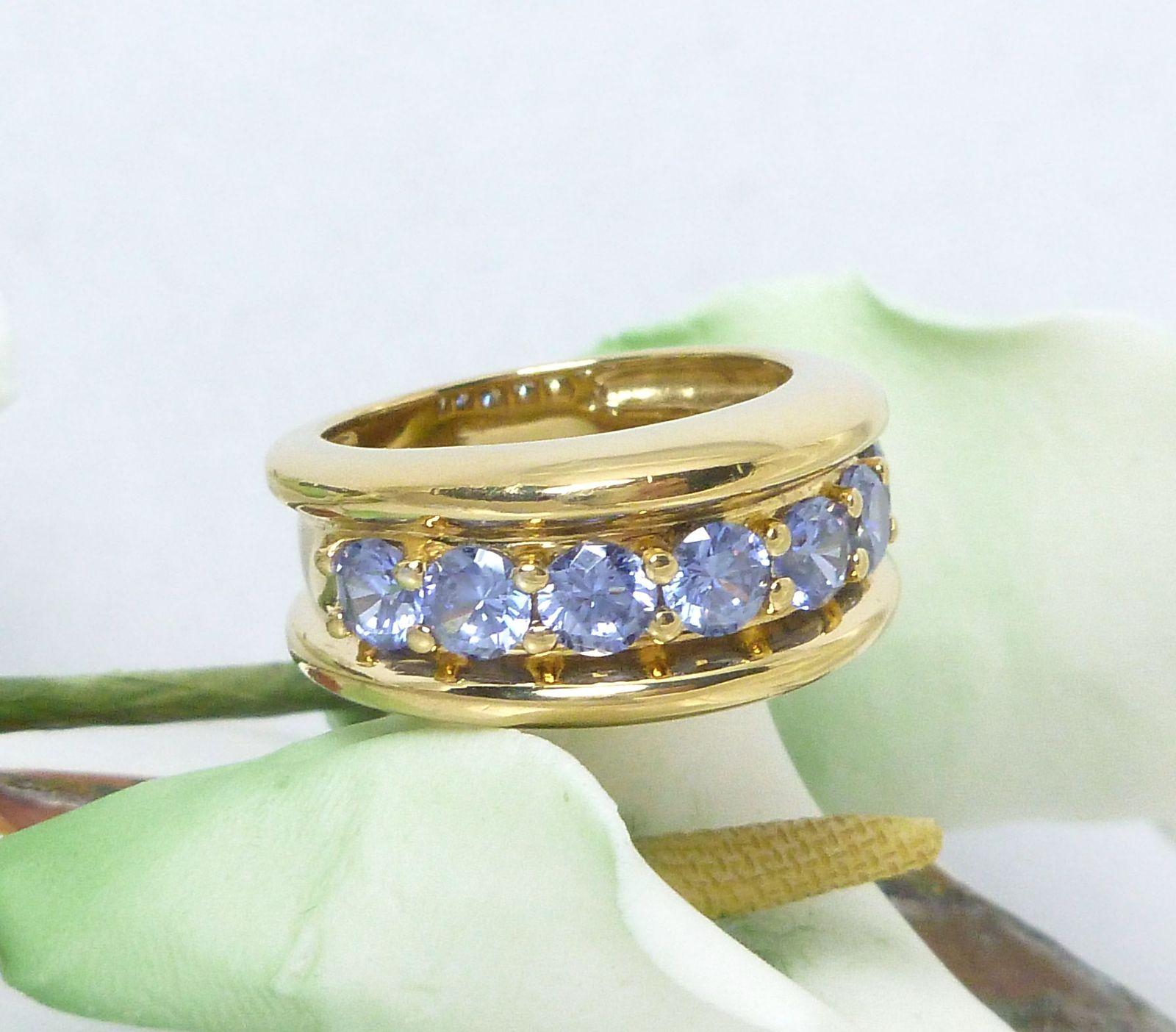 Technibond Tanzanite CZ Ring 18K Yellow Gold over Sterling Size 7