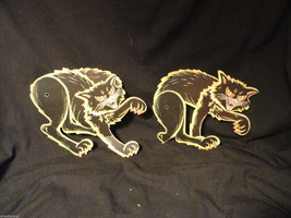 Vintage Hinged Cardboard Black Cat Halloween Decoration Small - £5.64 GBP