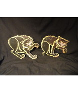 Vintage Hinged Cardboard Black Cat Halloween Decoration Small - $7.85